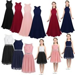 Flower Girl Dresses Kid Princess Long Dresses for Formal Wedding Bridesmaid Gown