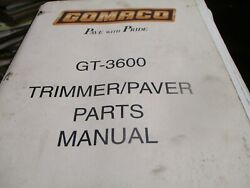 Gomaco Gt-3600 Trimmer Paver Parts Manual