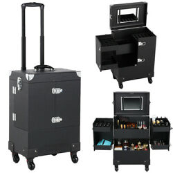 Professional Makeup Train Case Rolling Cosmetic Travel Trolley with Mirror Black $82.59