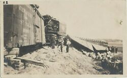 Vtg. Railroad Real Photo Chicago Milwaukee St. Paul Train Wreck Location Unknown