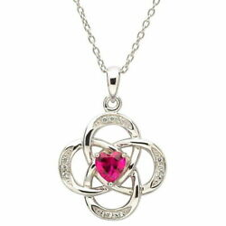 Sterling Silver Necklace July Birthstone Ruby Cubic Zirconia 18x20mm 18
