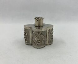Antique Chinese Export Silver Salt And Pepper Shaker With Dragons Bamboo Prunus