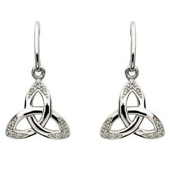 Sterling Silver Women Celtic Trinity Knot Earrings White Cubic Zirconia 14x16mm