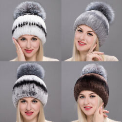 Winter Hat mink fur hats for winter women fur cap fox fur pompom knitted beanies