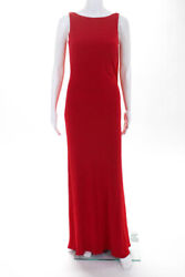 Vera Wang Womens Evening Dress Size 4 Red Full Length Low Back High Neck Tie