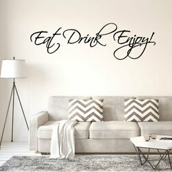 Eat Drink Enjoy Quote Wall Sticker Removable PVC Art Decals Home Office Decor
