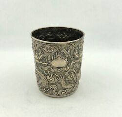 Antique Chinese Export Silver Beaker With Dragon By Tc C1900 143 Grams
