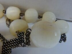 3514 Antique Big 240 Gr Silver Nacar Mother Pearl 20mm Beads Spain 1880