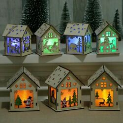Christmas House Decoration Hanging Led Lighted Wood Houses Holiday Home Village