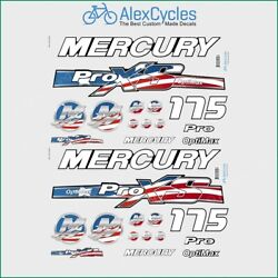 175 Hp Mercury Usa Stickers Optimax Proxs Outboadrs Motor Laminated Decals Boat