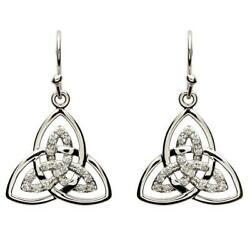 Sterling Silver Women Celtic Trinity Knot Earrings White Cubic Zirconia 18x20mm