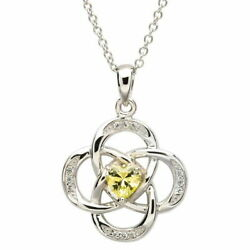 Sterling Silver Necklace August Birthstone Peridot Cubic Zirconia 18 x 20mm
