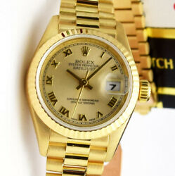 Rolex Lady President Yellow Gold Champagne Roman 69178 26mm - WATCH CHEST