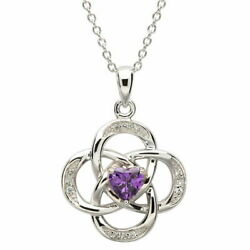 Sterling Silver Necklace February Birthstone Amythest Cubic Zirconia 18 x 20mm