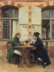 Jean-louis Ernest Meissonier The Card Players 1872 15 75x12in Painting Handmade