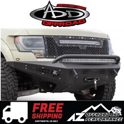 Add Honeybadger Front Winch Bumper Black For 2010-2014 Ford F150 Raptor