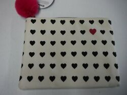 TARGET ALLOVER BLACK HEARTS PINK POM CANVAS COSMETIC BAG NEW A17148 $3.99