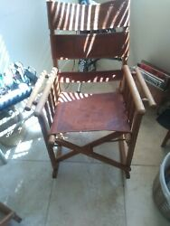 Mid-century Modern Costa Rican Leather Campaign Folding Rocking Chairs.