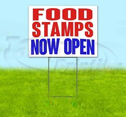 Food Stamps Now Open Yard Sign Corrugated Plastic Bandit Lawn Decoration Usa