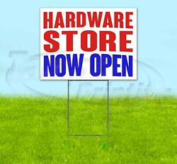 Hardware Store Now Open Yard Sign Corrugated Plastic Bandit Lawn Decoration Usa