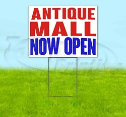 Antique Mall Now Open Yard Sign Corrugated Plastic Bandit Lawn Decoration