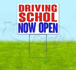 Driving School Now Open Yard Sign Corrugated Plastic Bandit Lawn Decoration Usa