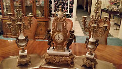 Bronze And White Marble Franz Hermle Victorian Mantel Clock With 2lg. Candelabras