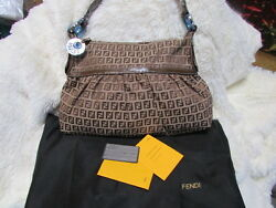 NEW FENDI women's designer canvas MONOGRAM leather BROWN shoulder bag $1,000.00