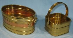 2-vintage Collectible Brass Bowls/baskets 1-w/copper Candy Cards Letters Holder