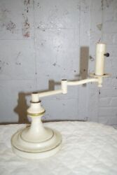 Vintage Mid Century Tole Swing Arm Candlestick Lamp Ivory And Gold