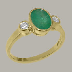 Solid 14ct Yellow Gold Natural Emerald And Diamond Womens Trilogy Ring