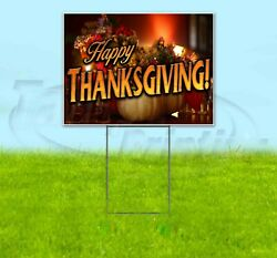 Happy Thanksgiving 18x24 Yard Sign Corrugated Plastic Bandit Lawn Business Fall