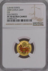 Ngc Pf70 2009 China Lunar Series Ox 1/10oz Gold Colorized Coin With Coa
