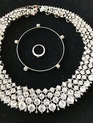 STUNNING HIGH END RHINESTONE  VINTAGE COLLAR Plus Coordinating Jewelry Lot !