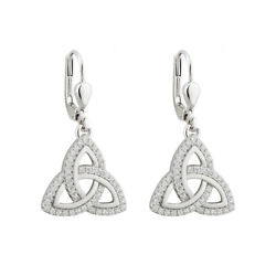 Solvar Women Sterling Silver Cubic Zirconia Trinity Knot Drop Earrings