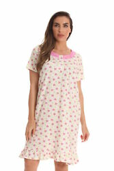 Dreamcrest 100% Cotton Short Sleeve Nightgown for Women with Lace Trim