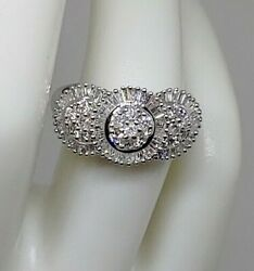 14kt White Gold Estate Round And Baguette Halo Style Ring 1.25ctw Size 7
