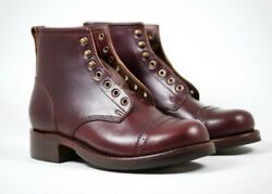 Julian Boots, Bowery Boot, Horween Chrxl Dark Cherry, Handmade,lasted,stitched