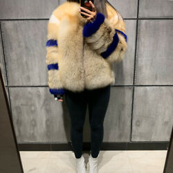 Womenand039s 100 Real White Vulpes Fox Fur Coat Winter Overcoat Fashion Outerwear