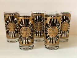 Georges Briard Mid Century Art Deco Pattern 5 5/8andrdquo Highball Glasses Andndash Set Of 5