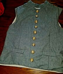 Vest Reproduction Civil War Confederate Gray Wool Conf Eagle Buttons Size Small