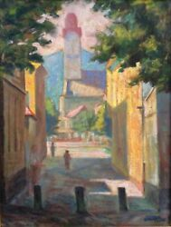 Karoly Cheip 1904-1981 ,oil On Canvas, Urban Landscape, Signed, 1958, Hungary