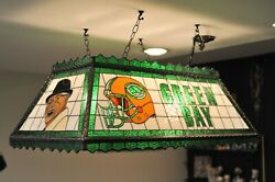 Green Bay Packer Stained Glass Bar Light