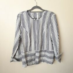 NWOT NY COLLECTION Women's Top Blouse Striped open Jacket  Shell  Navy Large