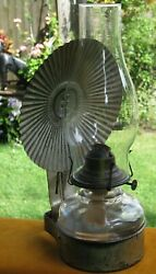 Antique Tin Wall Bracket 2 Oil Lamp Holder Clear Glass Font Eagle Reflector