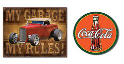 Two Vintage Style Tin Signs - My Garage, My Rules, Coca Cola Garage, Shop Signs