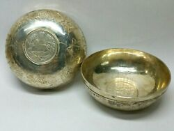 Antique Sterling Silver Judaism Middle Eastern Coin Shabbat Wine Cup Bowl