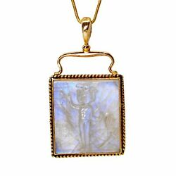Blue Moonstone 23.35 Mm 44.85 Carats Magician Carving 14k Handcrafted Gemstone P