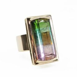 Bi-color Pink And Green Tourmaline 16.53 Cts 23.61 Mm Faceted Rectangle 14k Hand