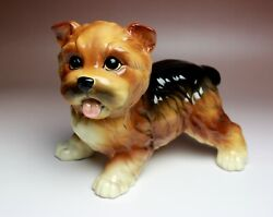 Yorkshire Terrier Puppy Black and Tan Yorkie Porcelain Figurine Japan NEW